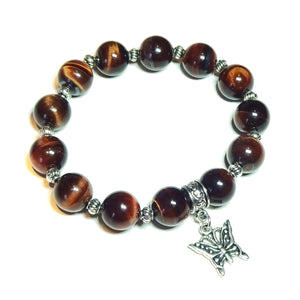 Red Tiger's Eye Gemstone Stretch Bracelet - 21cm