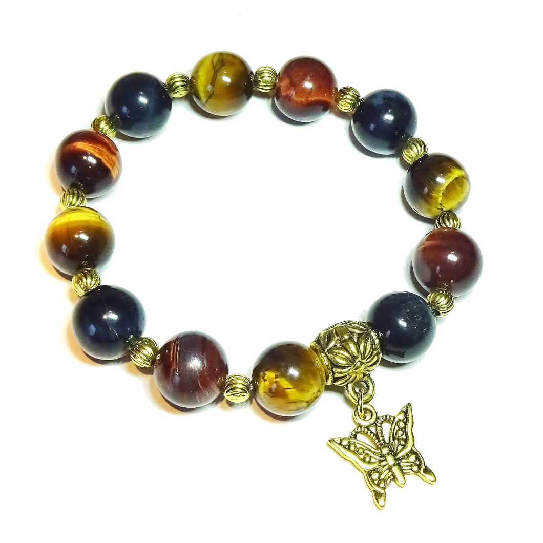 Brown, Red, Blue Tiger's Eye Gemstone & Antique Gold-Tone Stretch Bracelet