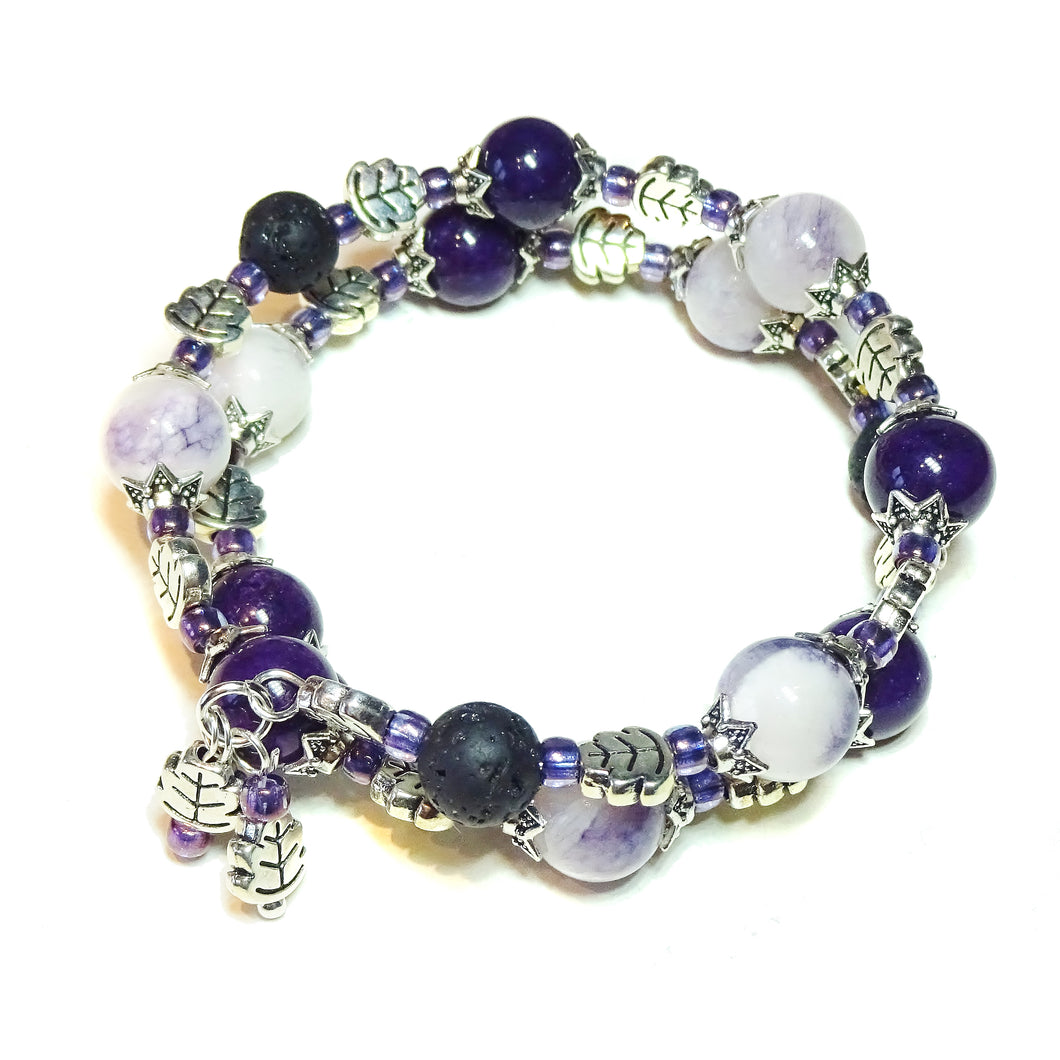 Purple Mountain Jade Gemstone & Lava Stone Essential Oil Diffuser Bangle