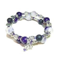 Load image into Gallery viewer, Purple Mountain Jade Gemstone & Lava Stone Essential Oil Diffuser Bangle