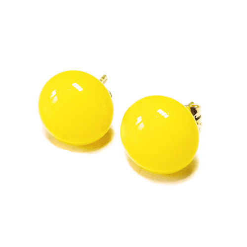 Mustard Yellow Fused Glass & Gold Plated Stud Earrings