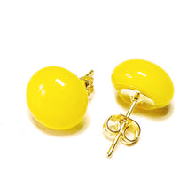 Load image into Gallery viewer, Mustard Yellow Fused Glass & Gold Plated Stud Earrings