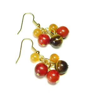 Brown Tiger's Eye, Red Aventurine, Coral & Gold Plated Cluster Earrings