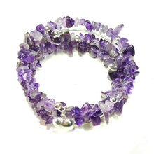 Load image into Gallery viewer, Purple Amethyst Gemstone Memory Wire Cuff / Wrap Bangle