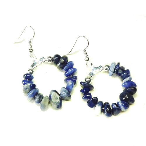 Blue Sodalite Gemstone Chip Hoop Earrings 25mm