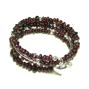Red Garnet Gemstone Memory Wire Cuff/Wrap Bangle