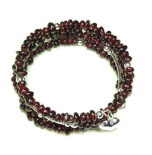 Load image into Gallery viewer, Red Garnet Gemstone Memory Wire Cuff/Wrap Bangle