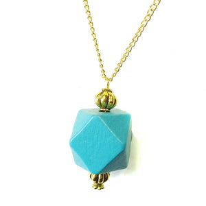 Kingfisher Blue & Old Gold Geometric Wood Pendant
