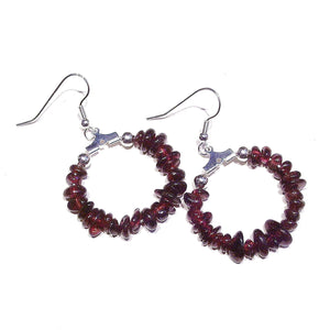Dark Red Garnet Gemstone Chip Hoop Earrings 25mm