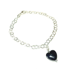 Load image into Gallery viewer, Black Turquoise Heart & Sterling Silver Chain Charm Bracelet - 19cm