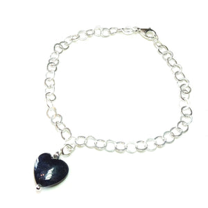 Black Turquoise Heart & Sterling Silver Chain Charm Bracelet - 19cm