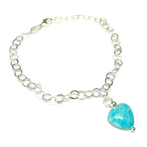 Blue Turquoise Heart & Sterling Silver Chain Charm Bracelet - 19cm