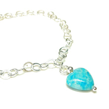 Load image into Gallery viewer, Blue Turquoise Heart & Sterling Silver Chain Charm Bracelet - 19cm