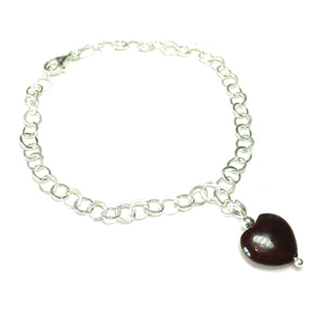 Dark Red Turquoise Heart & Sterling Silver Chain Charm Bracelet - 19cm