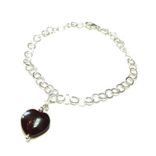 Load image into Gallery viewer, Dark Red Turquoise Heart & Sterling Silver Chain Charm Bracelet - 19cm