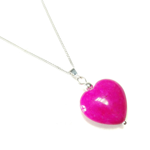 Pink Turquoise Heart & Sterling Silver Gemstone Pendant