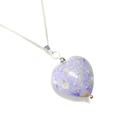 Purple Turquoise Heart & Sterling Silver Gemstone Pendant