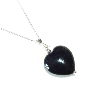 Black Turquoise Heart & Sterling Silver Gemstone Pendant