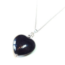 Load image into Gallery viewer, Black Turquoise Heart & Sterling Silver Gemstone Pendant