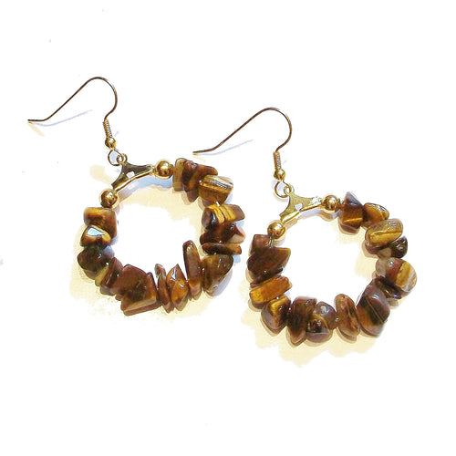 Brown Tiger's Eye & Gold Gemstone Chip Hoop Earrings 25mm