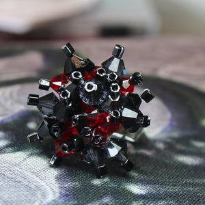Dark Red, Black & Grey Hand Sewn Swarovski Crystal Cluster Ring - Adjustable