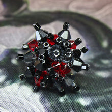 Load image into Gallery viewer, Dark Red, Black & Grey Hand Sewn Swarovski Crystal Cluster Ring - Adjustable