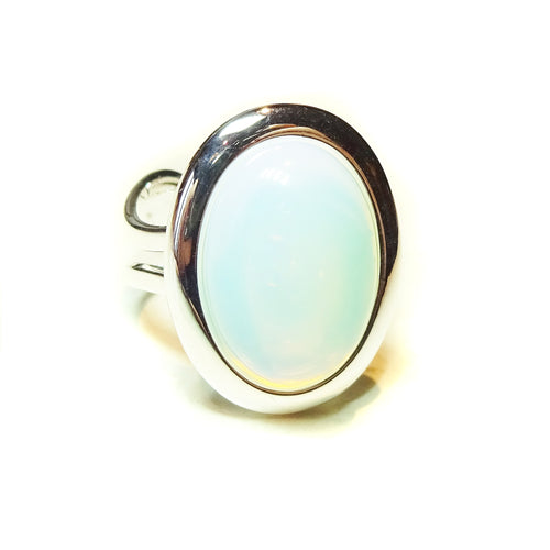 White Opalite Classic Oval Gemstone Ring - Adjustable