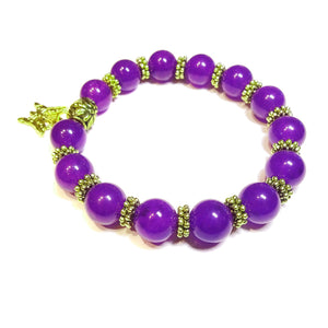 Purple Quartz Gemstone & Antique Gold-Tone Stretch Bracelet 21cm