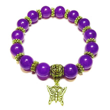 Load image into Gallery viewer, Purple Quartz Gemstone & Antique Gold-Tone Stretch Bracelet 21cm