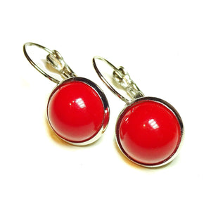 Red Jade Lever Back Gemstone Earrings