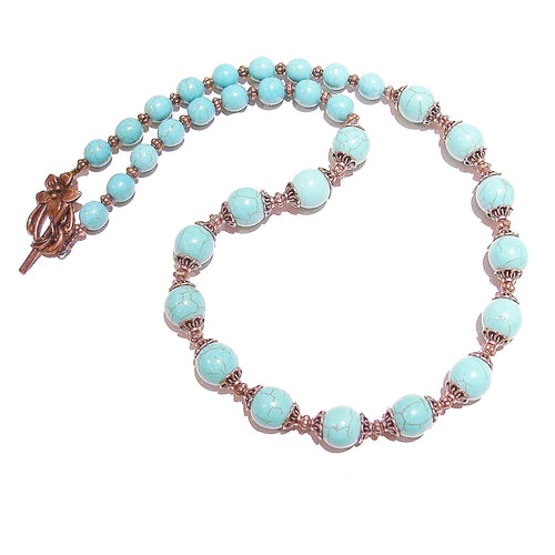 Blue Turquoise Gemstone & Antique Copper Necklace 25