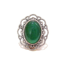 Load image into Gallery viewer, Green Onyx Gemstone Antique Silver-Tone Filigree Ring