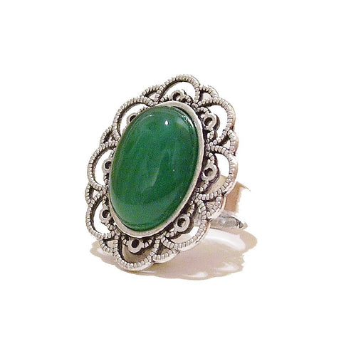 Green Onyx Gemstone Antique Silver-Tone Filigree Ring