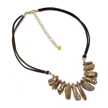 Load image into Gallery viewer, Metallic Gemstone Nugget Fan Necklace - Golden