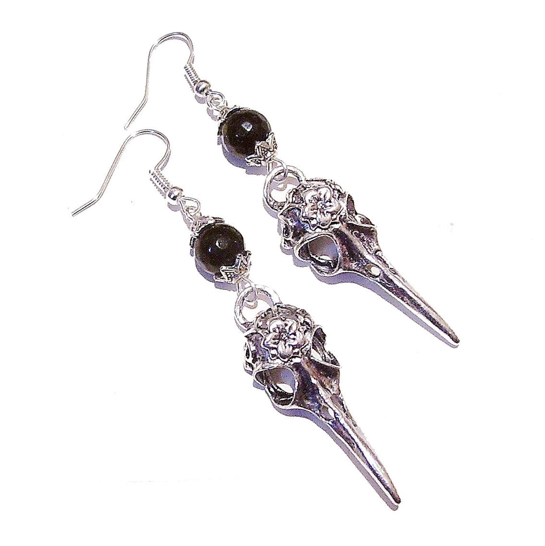 Bird Skull & Black Onyx Earrings