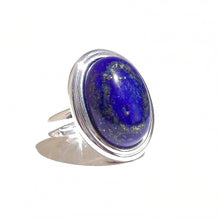 Load image into Gallery viewer, Blue Lapis Lazuli Gemstone Ribbed Edge Ring