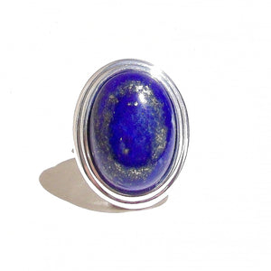 Blue Lapis Lazuli Gemstone Ribbed Edge Ring