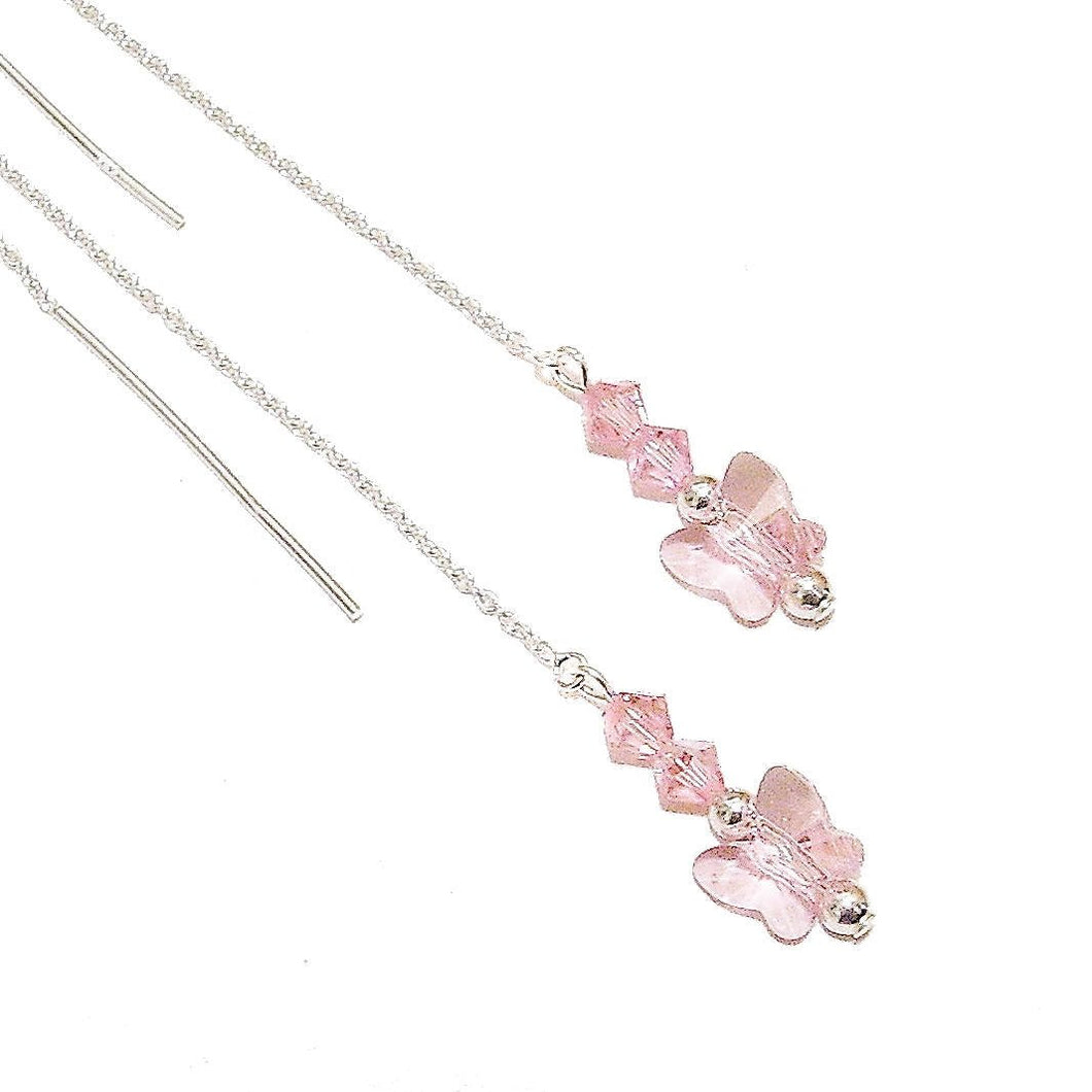 Pastel Pink Swarovski Butterfly & Sterling Silver Long Drop Chain Ear Threads - 174mm