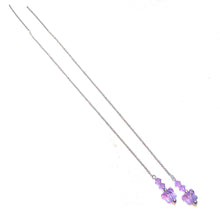 Load image into Gallery viewer, Lilac Purple Swarovski Butterfly & Sterling Silver Long Drop Chain Ear Threads - 174mm