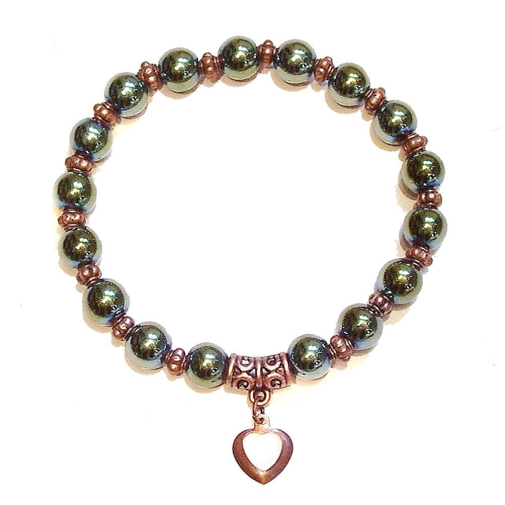 Green Haematite & Antique Copper Stretch Gemstone Handcrafted Bracelet Approx. 20cm