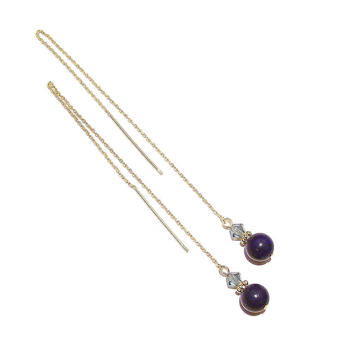 Blue Lapis Lazuli Gemstone & Swarovski Crystal Gold Vermeil Long Drop Chain Ear Threads - 172mm