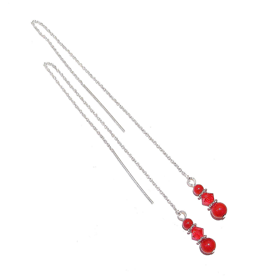 Red Coral Gemstone & Sterling Silver Long Drop Chain Ear Threads - 170mm