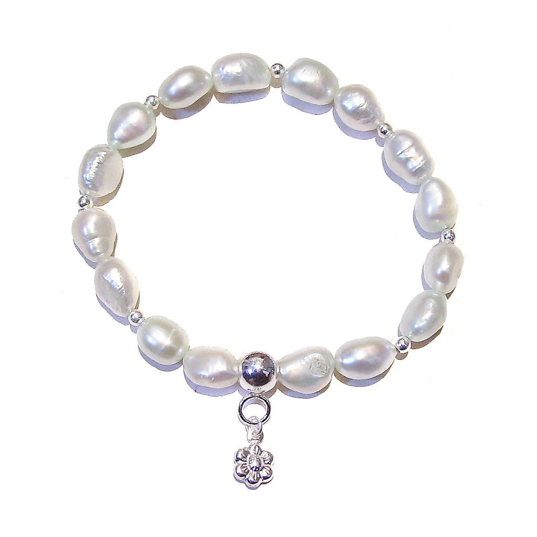 Baroque Freshwater Pearl & Sterling Silver Stretch Bracelet - Very Light Green Ap. 19.5cm