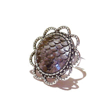 Load image into Gallery viewer, Large Grey Mermaid / Dragon Scale Filigree Ring - Adjustable