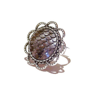 Large Grey Mermaid / Dragon Scale Filigree Ring - Adjustable