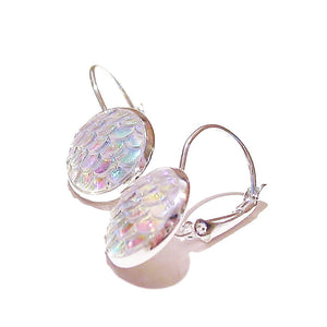 Mermaid / Dragon Scale Lever Back Earrings - White