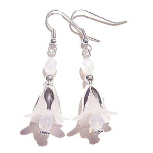 White Lucite Lily Flower & Crystal Drop Earrings