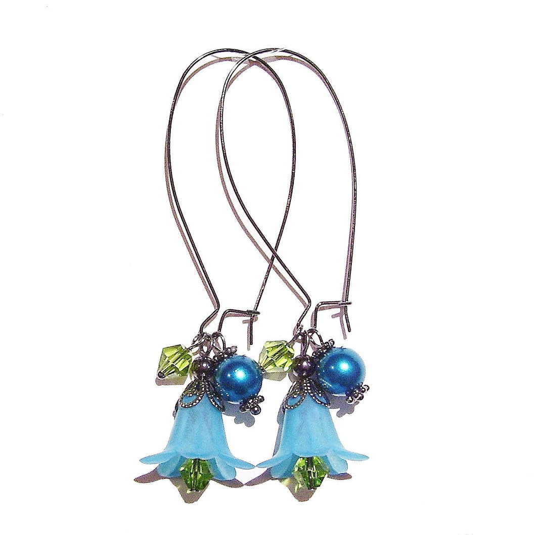 Teal Blue, Green & Gunmetal Lucite Lily Flower Cluster Earrings