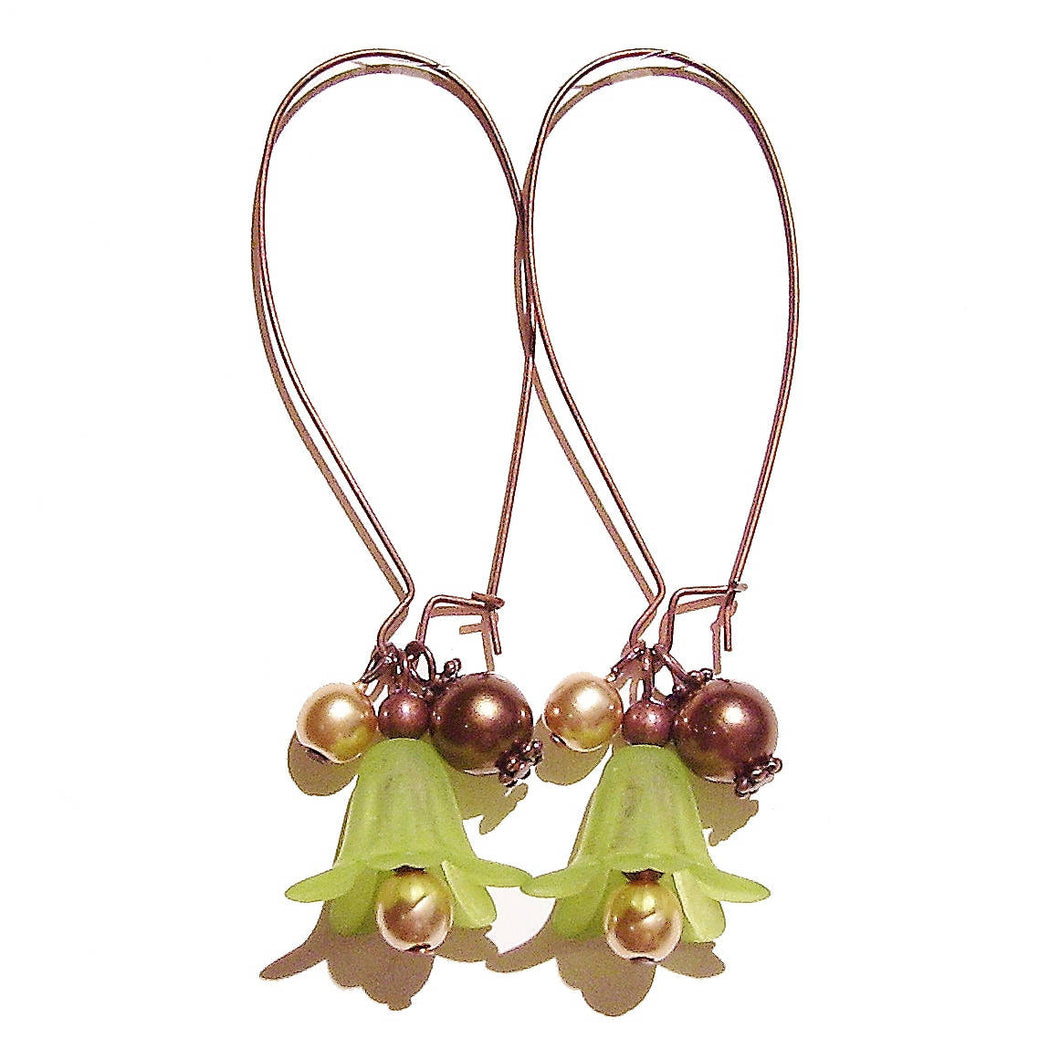 Green, Brown & Antique Copper Vintage Style Lucite Lily Flower Cluster Earrings