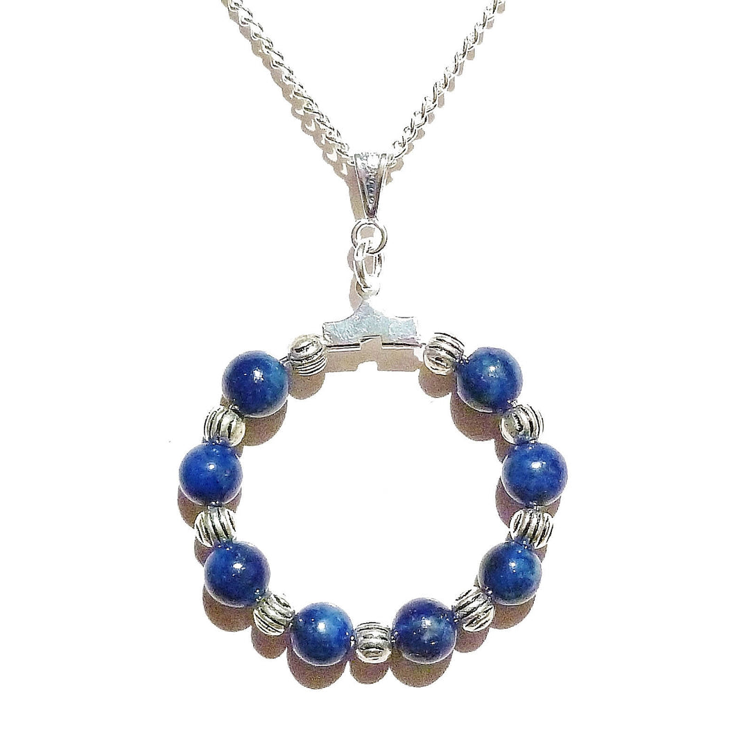 Blue Lapis Lazuli Gemstone Handcrafted Hoop Pendant - 30mm